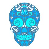 Day of the Dead, Day of the Dead, Mexican Sugar Skull, Day of the Dead, Holiday of Death, Sea skeleton pattern, pattern on the sku. Ll in the form of shells royalty free illustration