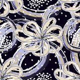 White and blue flowers with abstract figures and white dots on a dark gray color. Seamless pattern vector stock illustration