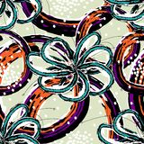 Light blue flowers with abstract figures of orange and violet colors on a gray color. Seamless pattern vector vector illustration