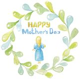 Happy mother`s day. A young woman, a girl, a mother with blond hair in a blue dress, barefoot, holding, hugging her baby stock illustration