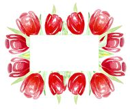 Frame red tulips for invitations, labels, cards. Watercolor. stock illustration