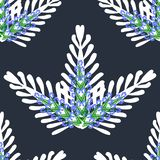 Abstract bouquet of white leaves with light blue flowers on a dark blue color. Seamless pattern vector vector illustration
