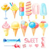 Set a collection of colorful ice cream in a cone, on a stick, in a cup, candy vector illustration