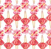Seamless pattern of watercolor illustration of a faceless girl in a red dress holding a bunch of pink balloons on a white backgrou royalty free illustration
