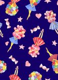 Watercolor seamless pattern with girl holding bouquet of colorful balloon with candy, hearts on dark blue background vector illustration