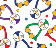 Seamless pattern with multicolored penguins, which sleeping royalty free illustration