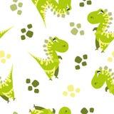 Seamless dinosaur pattern. Animal white background with green dino. Vector illustration. royalty free illustration