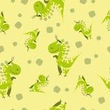 Seamless dinosaur pattern. Animal yellow background with green dino. Vector illustration. stock illustration