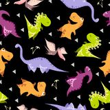 Seamless dinosaur pattern. Animal black background with colorful dino. Vector illustration. royalty free illustration