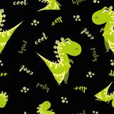 Seamless dinosaur pattern. Animal black background with green dino. Vector illustration. vector illustration