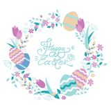Easter wreath with flowers and eggs. Hand lettering Happy Easter card. vector illustration