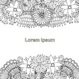 Blooming monochrome background for coloring book, antistress page, Lorem ipsum, hand drawn. Design element stock vector illustration for web, for print vector illustration