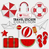 Summer Red Travel sticker collection, Vector isolated illustration. On light grey background royalty free illustration