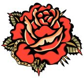 Vector Red Rose Tattoo Style royalty free stock photo