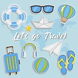 Let`s go Travel. Summer Travel sticker collection, Vector isolated illustration on blue background with maps. Let`s go Travel. Summer Travel sticker collection stock illustration