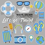 Let`s go Travel. Summer Travel sticker collection, Vector isolated illustration. On grey background with maps royalty free illustration