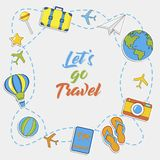 Let`s go Travel. Summer Travel sticker collection, Vector isolated illustration. On light grey background stock illustration