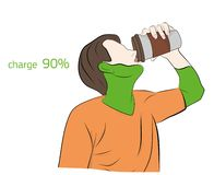 Man drinks coffee being charged. charge 90%. vector illustration.  vector illustration