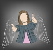 Girl with painted wings. vector illustration. vector illustration