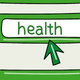 Health - internet concept. Browser with an arrow. Vector graphics. vector illustration