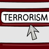 Terrorism - Internet news concept. Browser with an arrow. Vector graphics. Dangers on the Internet. stock illustration