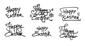 Hand written Easter phrases .Greeting card text templates isolated on white background. Happy easter lettering modern calligraphy stock illustration