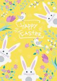 Easter postcard with cute Easter bunny, birds, flowers and verba, vector illustration. vector illustration