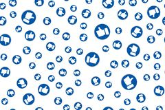 Social Network blue Like icons for live stream video chat likes design template. Seamless pattern . royalty free illustration
