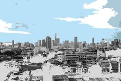 Modern metropolis, realistic grunge style in duochrome palette royalty free stock images