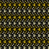 Dark gray background with golden flowers and white folk style. Seamless pattern vector royalty free illustration