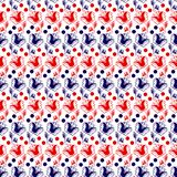 White background with blue and red flowers in folk style. Seamless pattern vector stock illustration