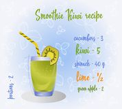 Green smoothie recipe. Fresh organic smoothie ingredients. Health or detox diet food concept. Vector stock illustration
