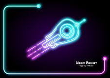 Neon vector rocket.Space Shuttle Flying Up .Neon advertising. Painted drawing concept vector illustration royalty free illustration