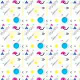 Pattern of geometric shapes, stripes and zigzags stock illustration