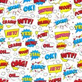 Colorful comic speech bubbles seamless pattern with phrases: OMG!, POW!, BANG!, OOPS!, WOW!, SURPRISE!, BOOM! stock illustration