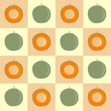 Seamless pattern green-orange pattern on a pink background. Vector graphics. vector illustration