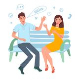 Guy and girl happy smile and help. Date, meeting, acquaintance. Romantic feelings and love. Vector illustration stock illustration