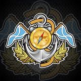 Anchor with compass, gold crown between wreath and flags on blackboard. Sport logo for any yachting or sailing team. Or championship vector illustration