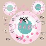 Печать. Baby shower for baby girl Royalty Free Stock Image