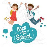 Cheerful students are happy to go back to school. Schoolchildren in school uniform. Vector illustration on the topic of education. Back to school. Cheerful vector illustration