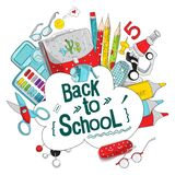 School and office supplies. Layout template of stationery for graphic design, web banners and print materials. Vector graphics. Back to school vector stock illustration