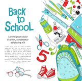 Template back to school for Internet banners. Registration of shares and sales, web banners and printed materials. Back to school vector illustration on white stock photography