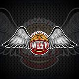 Basketball ball with wings and west lettering. Vector sport logo for any team. And championship royalty free illustration