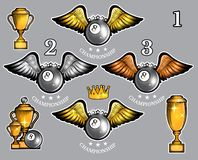 Billiard balls with wings cups and crown. Vector set of sport logo for any team. And championship stock illustration