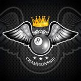 Billiards ball with wings and crown on blackboard. Vector sport logo for any team. And championship vector illustration