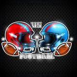Blue and red american football helmets in front of each other in center. Sport logo for any team. Or competition stock illustration