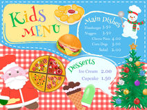 Christmas and New Year Kids Menu with chef Santa and snowman Stock Images