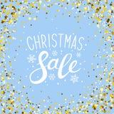 Christmas sale background with golden frame. Christmas sale background with golden round frame stock illustration