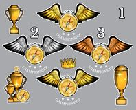 Compass with wings cups and crown. Vector set of sport logo for any team. And championship royalty free illustration