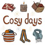 Cosy vector illustration hygge elements royalty free illustration